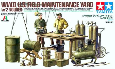 WWII US Field Maintenance Yard - 1/35 (w/2 Figures)