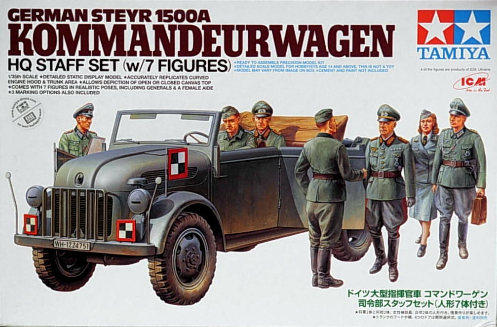Steyr 1500A Kommandeurwagen w/7 figs HQ Staff Set