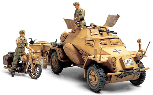 Nth African Front- SdKfz 222 w/ DKW bike & 3 figs