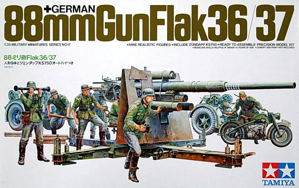 German 88mm Flak 36/37 Gun with Crew