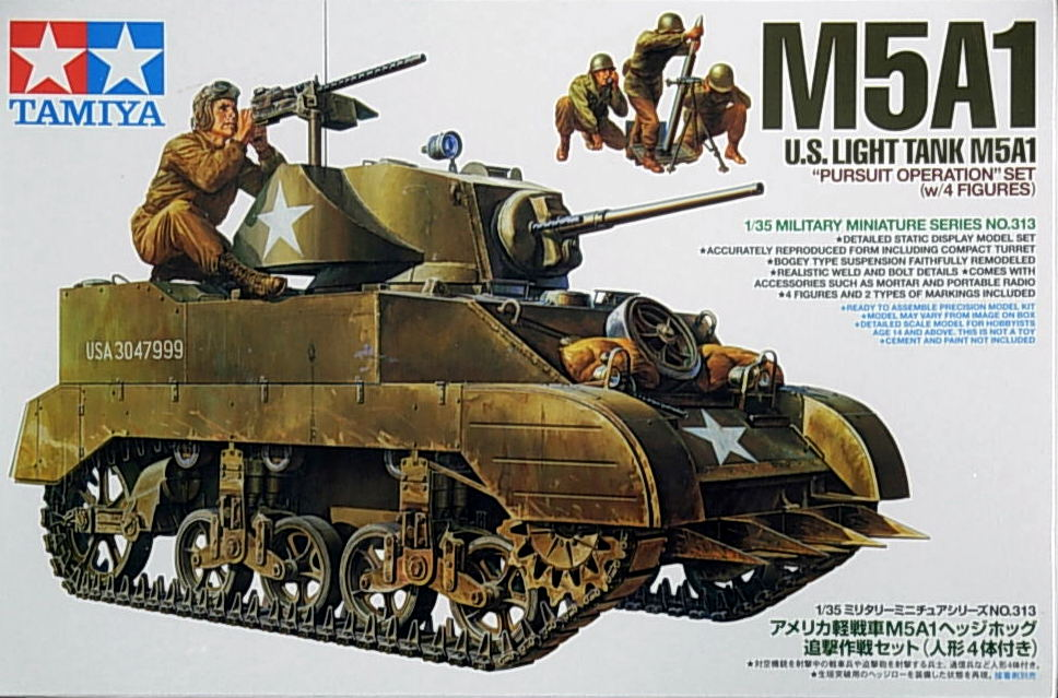 U.S. Light Tank M5A1 Pursuit Op w/4 figures